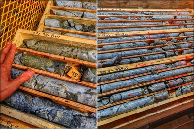 Figure 3. Photographs from recent drilling at the Seel Breccia Zone. Left: 20-centimetre-wide semi-massive chalcopyrite zone within a widespread breccia from 45 metres depth in hole S21-281. Right: Breccia zone from 27 to 37 metres in hole S21-270. Note large blebs of chalcopyrite throughout the breccia matrix.